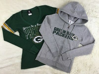 NFL Team Apparel Green Bay Packers Sweatshirt and Thermal Shirt Lot of 2 S/M
