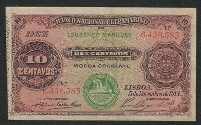 Scarce Mozambique (Ultramarino) 10 Centavos Currency Banknote with /Tab 1914 VF