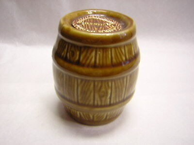 """Ceramic Barrell Adv Rutherford's Blended Scocth Whiskey 2-1/2"""" tall x 2-1/4"""" dia"""