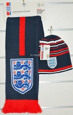 BNWT - England Football Soccer Beanie & Jacquard Scarf Supporter Combo World Cup