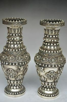 2Pcs Collection Of The Chinese Copper Handmade Carved Flower Vases