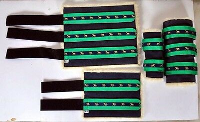 Navy & Emerald Green Suede & Fleece Boots (4) Small Pony, Pony, Cob or Full