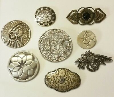 VINTAGE Antique Lot of 8 PEWTER & Silver-Tone FILIGREE Mixed Style BROOCHES Pins
