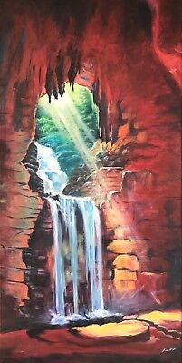 original nature oil painting. handpainted on stretched canvas. waterfall