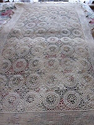 A Cream Knitted Table Cloth 95 X 150 Cm In Perfect Condition