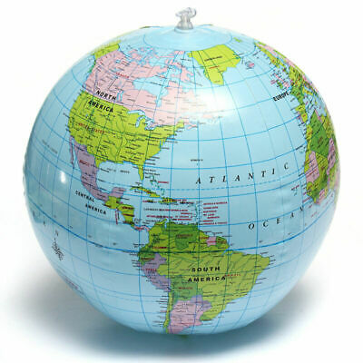 38CM PVC World Globe Earth Atlas Ball World Map Inflatable Geography Toy Tutor