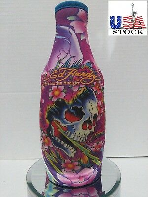Ed Hardy Tattoo Neoprene Bottle Cooler Skull Collection  /Koozie with Zipper