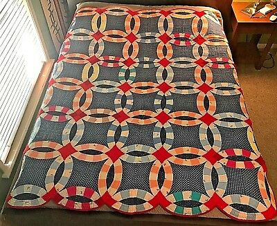 """VINTAGE ANTIQUE QUILT Double Wedding Rings Hand-Sewn 66"""" X 79"""""""
