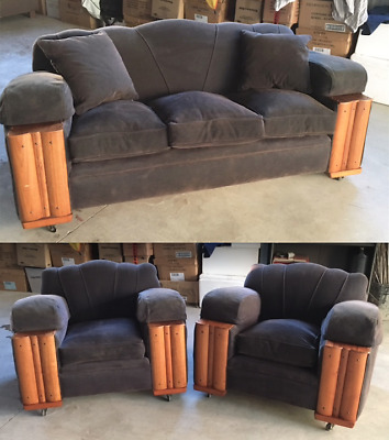 VINTAGE ART DECO LOUNGE 3 seater PLUS 2 single seats  *FREE DELIVERY NEGOT MELB