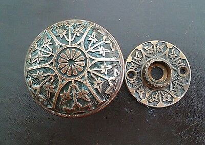 Antique Eastlake Ornate Bronze Brass Door Knob and Rosette Sargent J - 20900