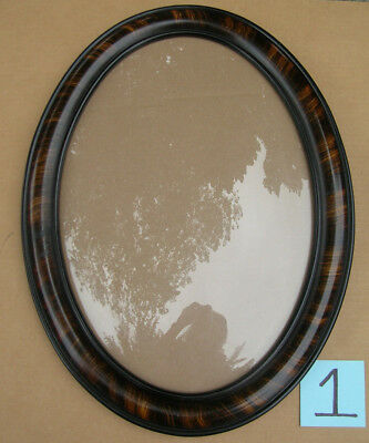 ANTIQUE  OVAL  TIGER  WOOD  FRAME w/ CONVEX  DOME  BUBBLE  GLASS  (2) AVAILABLE