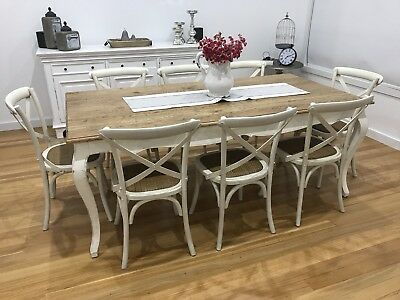 French Country / Hamptons Style Early Settler Oak Table and 8 Crossback Chairs