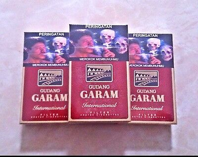 3 pack Gudang Garam International Filter Kretek Cigarettes, Kretek