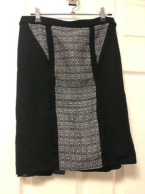 Jacqui-E Skirt black Metallic texture corporate office Work Size 8 Made in Aus