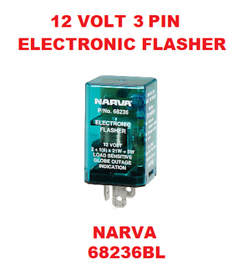 1x 12V 3 Pin Electronic Flasher Relay Colour Green & Silver NARVA 68236BL