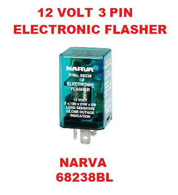 1x 12V 3 Pin Electronic Flasher Relay Colour Green & Silver NARVA 68238BL