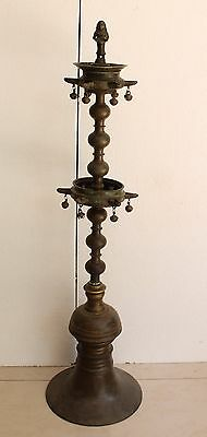 """Antique Brass 35"""" Inch Height Big Size Deep Laxmi Engrave Fine Oil Lamp NH2907"""