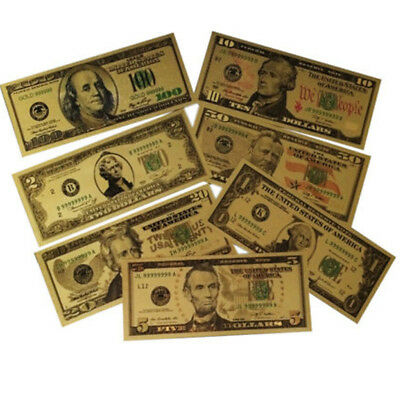 Gold Dollar 7PCS Bill Full Set Gold Banknote Colorful USD 1/2/5/10/20/50/100