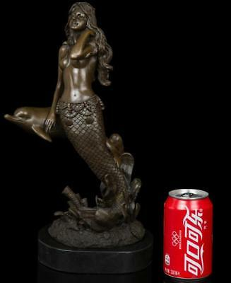 Art Deco handmade Sculpture beauty Mermaid Dolphin  Bronze Copper Statue