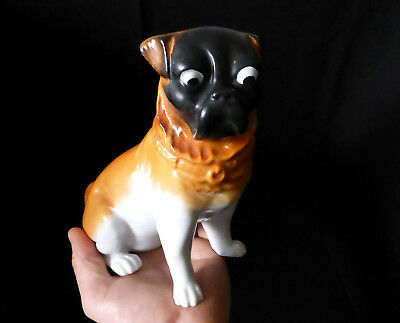 "Antique VICTORIA SCHMIDT & CO. AUSTRIA 7.4"" porcelain figurine PUG DOG figure"
