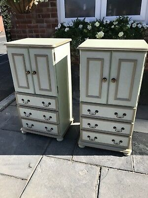 Pair of good Quality painted shabby chic cabinets , tallboy chests
