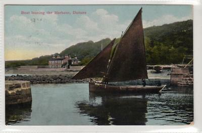 BOAT LEAVING THE HARBOUR, DUNURE: Ayrshire postcard (C33141)