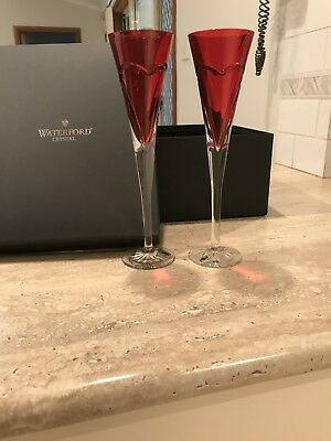 """Brand New In Box Waterford Crystal """"Love & Romance"""" crimson flutes x 2"""