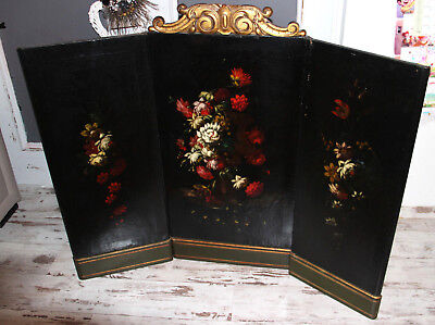 """RARE 47"""" XXL  Antique 19thc French Tryptich Oil canvas painting flowers wood"""