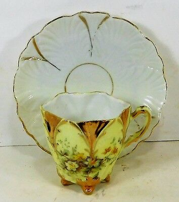Antique Decorative Small Demitasse Cup & Saucer  Thin Porcelain  Hand Painted #2