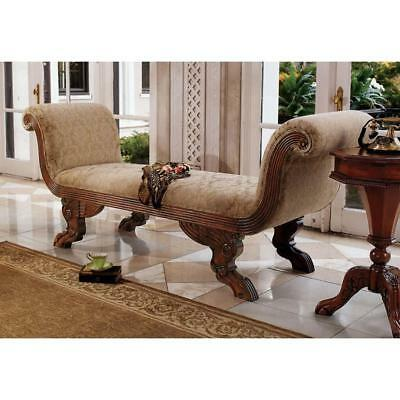 Neoclassical Handcarved Mahogany Antique Replica Double Rolled-Arm Chaise Chair
