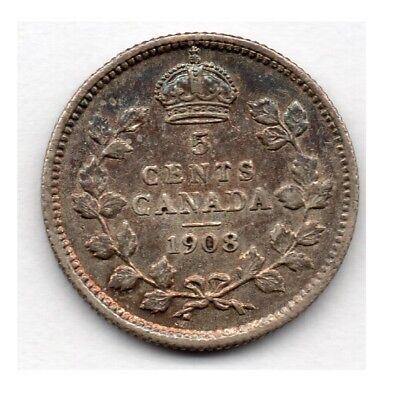 Canada 5 Cent 1908 (Nickel) (92.5% Silver) Coin