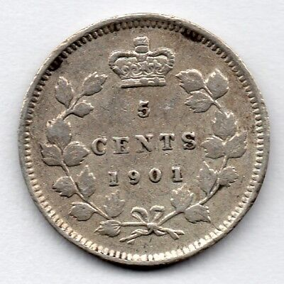 Canada 5 Cent 1901 (Nickel) (92.5% Silver) Coin