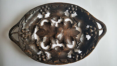 Antique Victorian Black Forest Carved Wooden Tray Dish