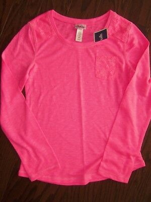 Nwt Justice Neon Pink Ls Tunic Tee: Size 8
