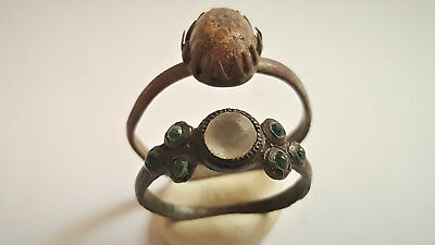 Two Medieval /post Medieval Bronze Rings With Glass/stone