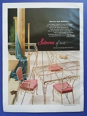 1955 Salterini Wrought Iron Patio Furniture French Provincial Vintage Print Ad