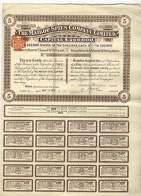 Maikop Spies Company Limited – Aktie über 50 Shilling, London, 16.03.1910 !