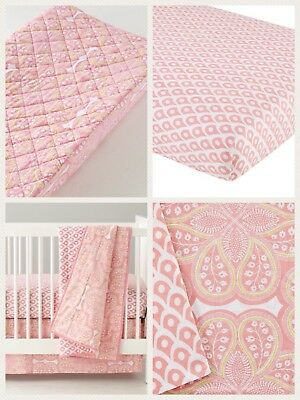 Land of Nod Baby Girl Crib Bedding 7 Piece Sheet, Quilt, Bed Skirt, Changing Pad