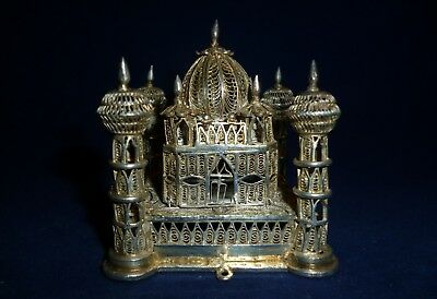 Intricate White Metal Filigree Work Model of a Pavilion