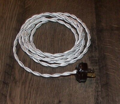 WHITE ~ 8' Vintage Twisted Cloth Covered Lamp Cord w/ Acorn Plug ~ by PLD