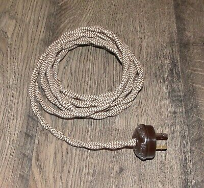 BEIGE & BROWN ~ 8' Vintage Twisted Cloth Covered Lamp Cord w/ Acorn Plug ~by PLD