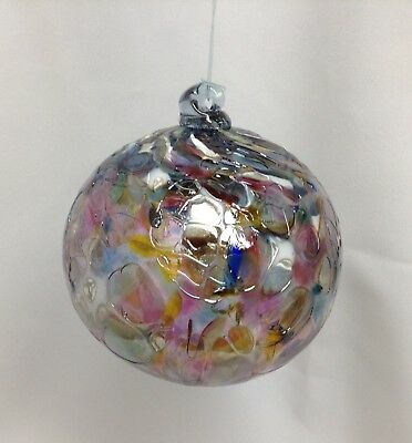 Witch Ball Silver Stained Glass Friendship Suncatcher Silver & Multi # 6