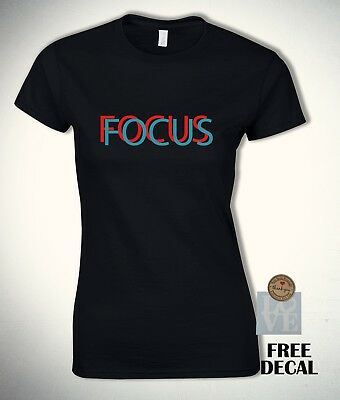 Focus Fashion t-shirt Funny Novelty illusion Tee Black and White Womens Gift Top