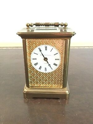 Matthew Norman Vintage 8 Day Brass Masked Dial Mini Swiss Carriage Clock.