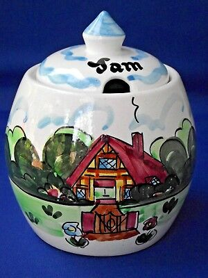 Vintage Retro Hand Painted Jam Pot Toni Raymond Pottery Cottage Flower Design