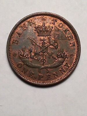 Scarce 1852 Bank of Upper Canada One Penny Token Mint Luster High Grade