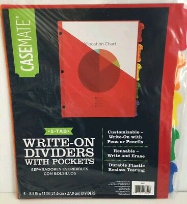 """5 Tab Durable Dividers w/Pockets Write-On Curved Tab 8.5"""" FREE SHIPPING LOWER 48"""