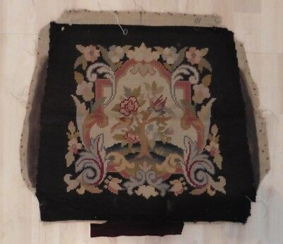 Antique Needlepoint Wool Work Tapestry Panel