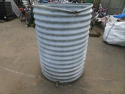Antique Large Ribbed Galvanised Water Butt Tank With Tap 4.5Ft Tall Vintage
