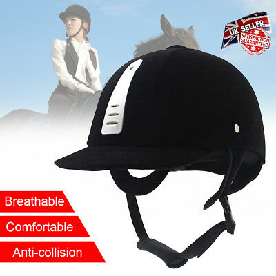 52-62cm Unisex Horse Riding Hat Safety Helmet Black Comfortable breathable UK